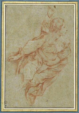 Femme allongée au sol, le bras droit pendant : sainte Agathe (?)