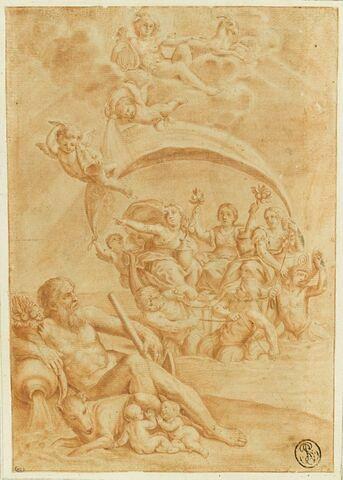 Remus et Romulus, un Fleuve, trois femmes entourées de génies et de tritons