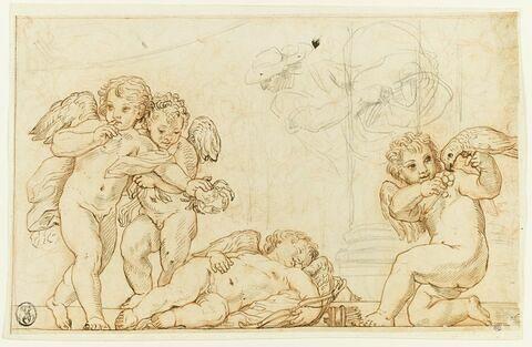Trois amours et l'Amour endormi ; étude d'un homme de profil