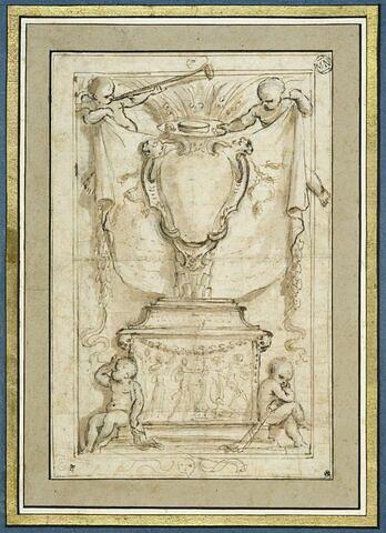 Un monument funéraire, entouré de quatre figures d'enfants