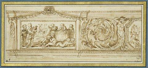Frise décorative avec panneau représentant une scène de vendange
