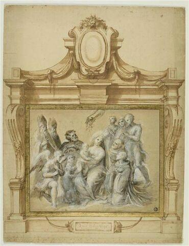 La Sainte Famille entourée d'anges et de saints