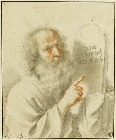 Moïse, vu à mi-corps, montrant les tables de la loi