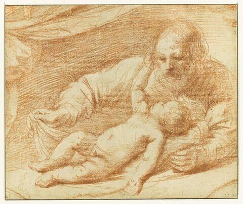 Saint Joseph avec l'Enfant, allongé devant lui, sur une draperie