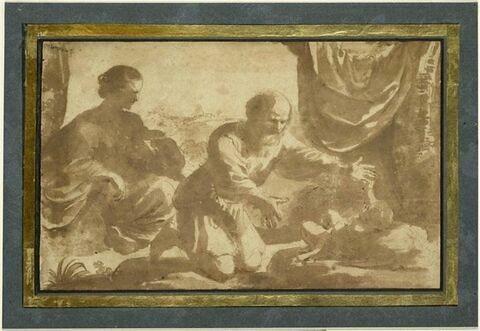 La Vierge regarde saint Joseph qui tend les bras à l'Enfant