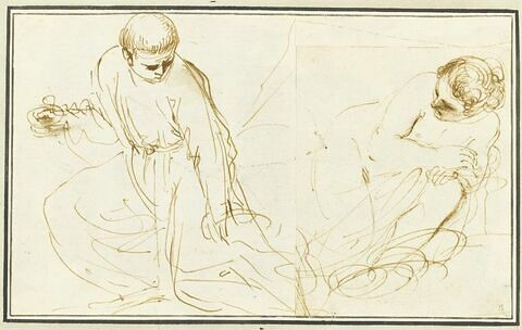 Un religieux agenouillé, portant une coupelle ; une femme à demi nue