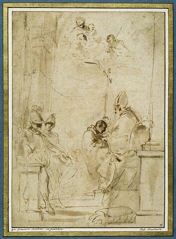 Deux soldats regardent saint Guillaume agenouillé devant un évêque