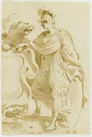 Projet de frontispice : femme casquée près d'un lion et d'un écusson