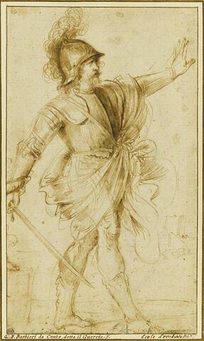 Etude d'un guerrier, tenant une épée, marchant vers la droite