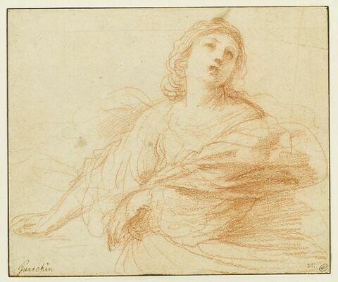 Femme, vue à mi-corps, avançant le bras droit, regardant au ciel