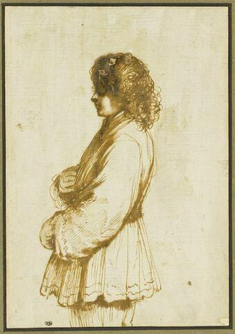 Figure de jeune homme, de profil vers la gauche