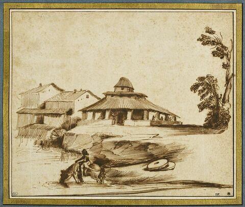 Masure sur le bord d'une rivière dans laquelle un homme fait boire un cheval