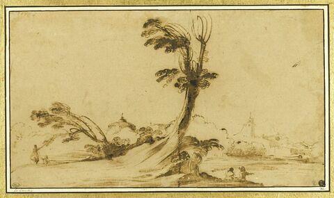Paysage avec deux figures assises près d'un arbre à demi-mort