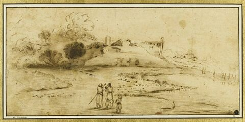 Paysage avec des figures regardant des batiments en ruines bordés d'arbres