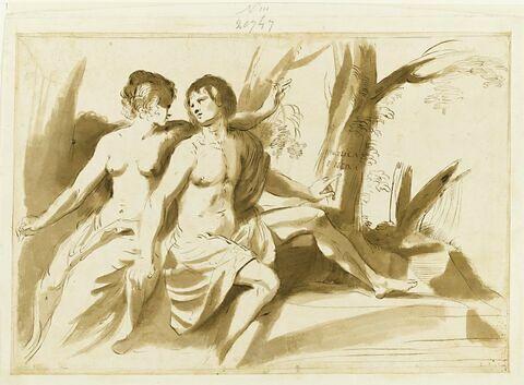 Jeune homme et jeune fille au pied d'un arbre marqué Angelica et Medor