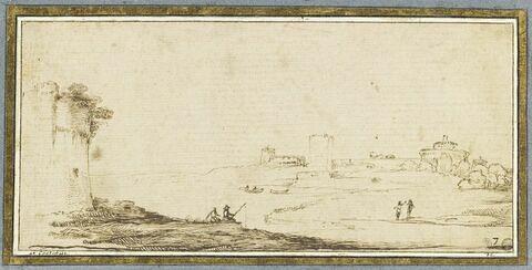 Paysage avec deux pêcheurs près d'une tour dominant une étendue d'eau
