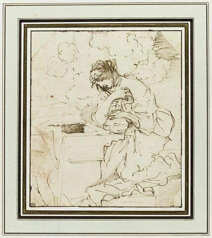 La Madeleine au tombeau, tenant un vase de parfum dans ses bras