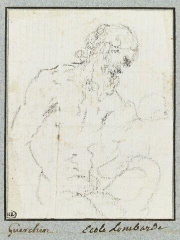 Demi-figure d'homme nu, assis, tourné vers la droite