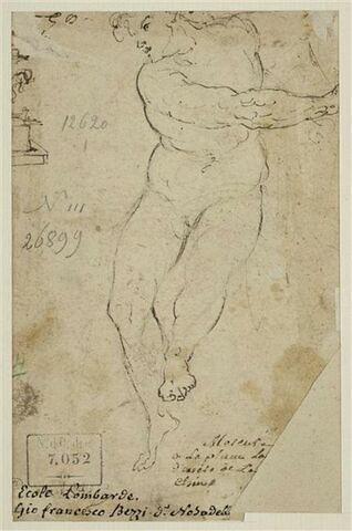 Etudes : figure nue, assise, la tête penchée à gauche ; pied de vase (?)