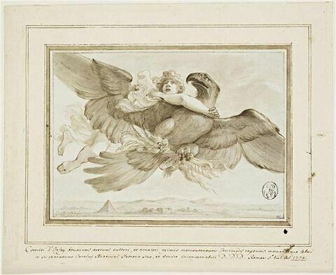 Enlèvement de Ganymède par un aigle qui tient la foudre dans ses serres