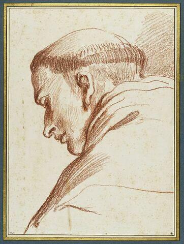 Tête de moine, de profil vers la gauche