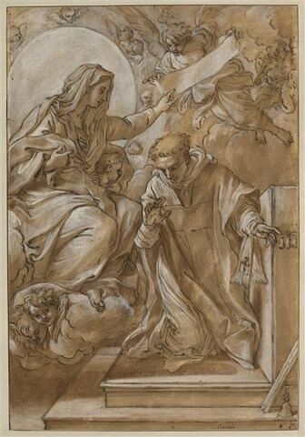 La Vierge assise sur des nuages donnant un scapulaire à saint Hyacinthe