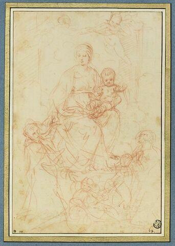 Vierge à l'Enfant, couronnée par des anges, adorée par sainte Catherine de Sienne et saint Dominique