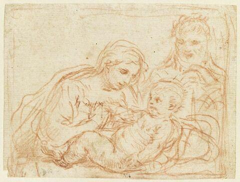 La Sainte Vierge et saint Joseph regardent l'Enfant