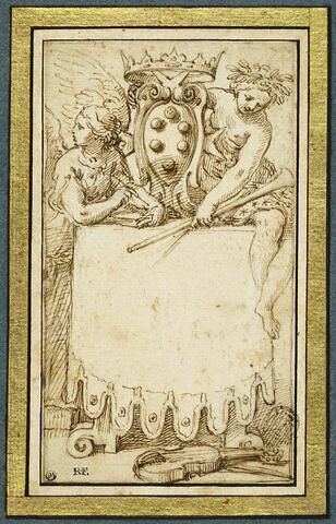 Les armes des Medici entourées par deux allégories féminines