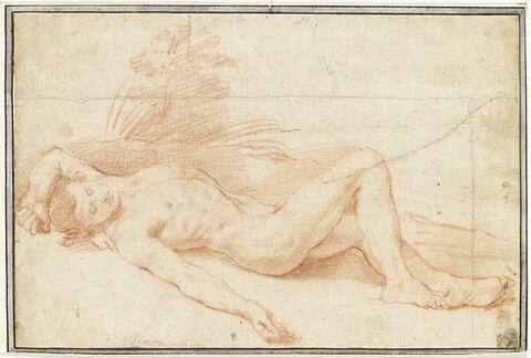 Un jeune homme nu, étendu et endormi