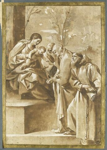 Vierge à l'Enfant adorée par sainte Catherine de Sienne et Saint François d'Assise