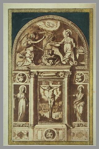 Décoration d'autel avec Christ en croix, St Jean, la Vierge, l'Annonciation