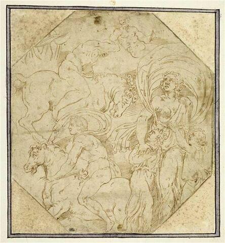 Une femme tenant deux enfants, deux hommes à cheval, deux demi-figures