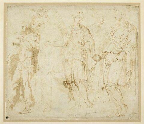 Quatre figures debout dont une conduisant un cheval