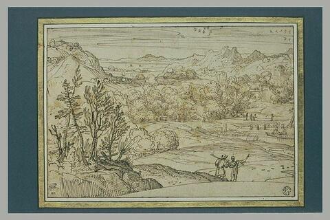 Paysage avec des figures près d'une étendue d'eau, et d'une forteresse