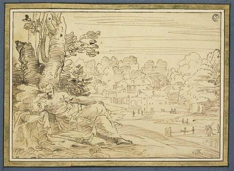 Femme méditant dans un paysage