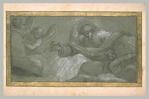 Dieu dans sa gloire posant la main sur un globe porté par un ange