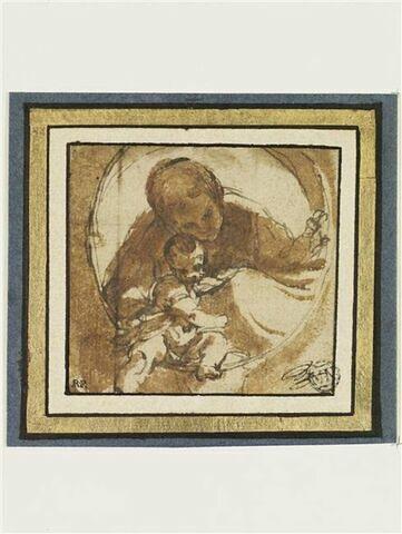 Vierge à l'Enfant avec un livre dans un tondo