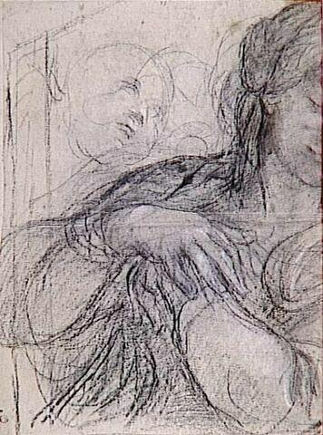 La Vierge en buste, les mains jointes sur la poitrine