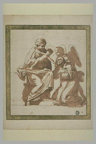 Saint présenté à la Vierge et l'Enfant par un ange