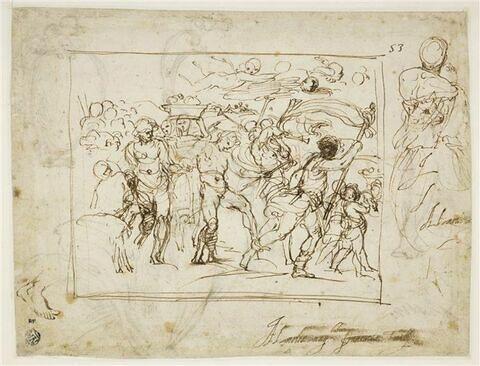 Le Cortège de Bacchus et Ariane ; pied droit, buste, de dos, tête de chien