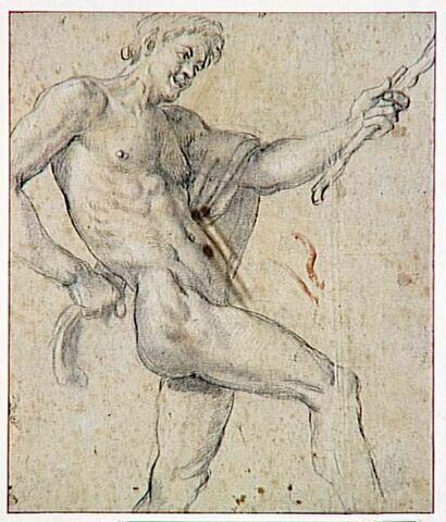 Faune debout dansant, tenant un bâton
