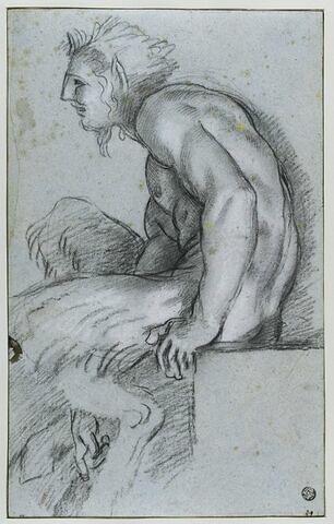 Satyre assis de profil, tourné à gauche et courbé