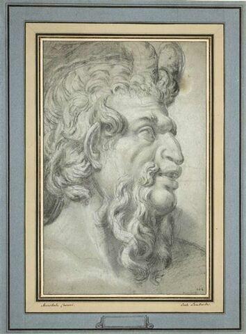 Tête de satyre, vue de profil et tournée vers la droite