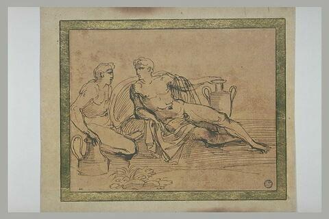 Deux hommes nus s'appuyant sur des vases : Bacchus et Apollon