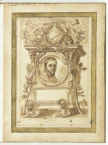 Ornement autour du portrait d'A. Carracci