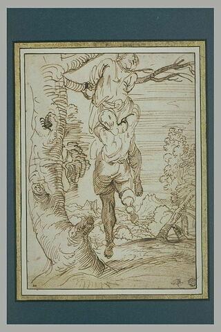 Homme suspendu à un pendu, dans un paysage