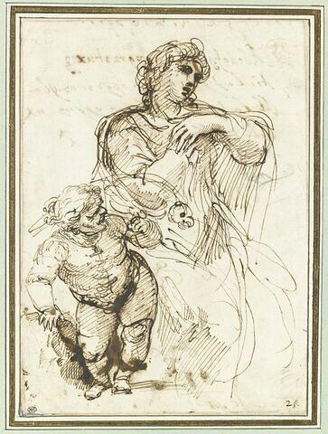 Femme assise et nain portant au poing un perroquet