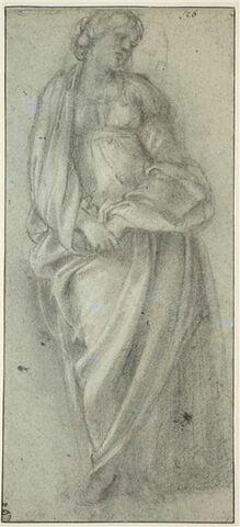 Etude de femme drapée tenant ses mains l'une dans l'autre