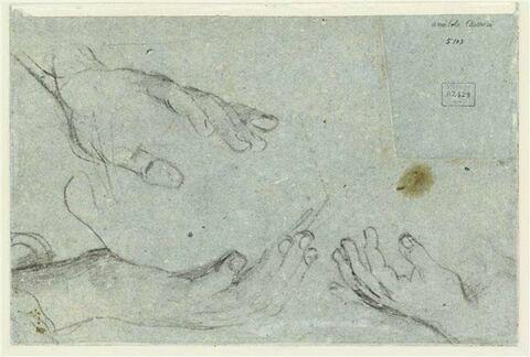 Trois études de mains pour Polyphème